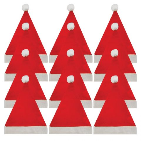 12 x Santa Father Christmas Felt Hats With Bobble - Child Size - Wholesale Bulk Buy